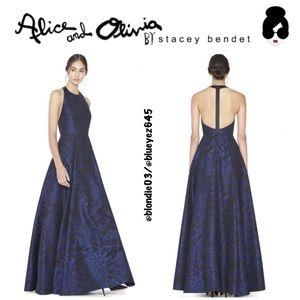 Alice + Olivia Teifer jacquard t-back ballgown 0